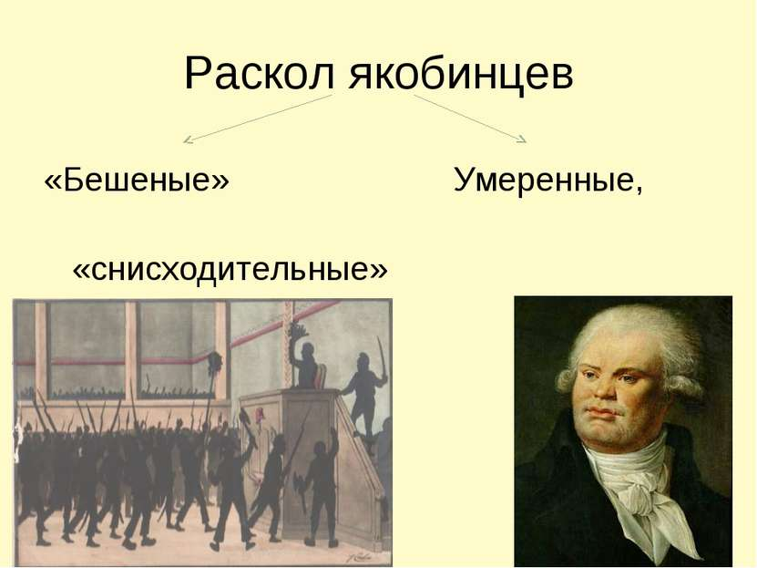 Раскол якобинцев «Бешеные» Умеренные, «снисходительные» Конвент Ж.Дантон
