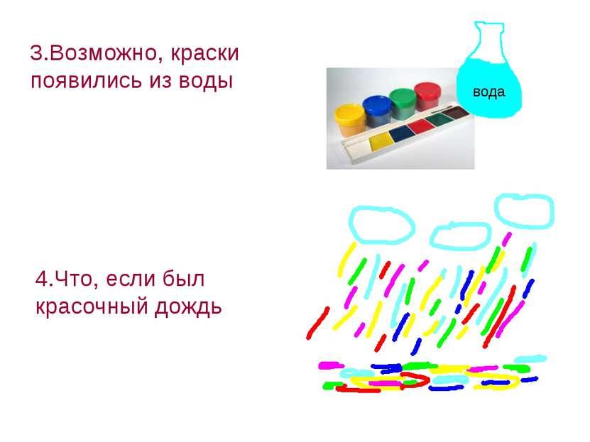 3.Возможно, краски появились из воды 4.Что, если был красочный дождь вода