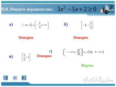 №8. Решите неравенство: а) г) в) б) Верно Неверно Неверно Неверно