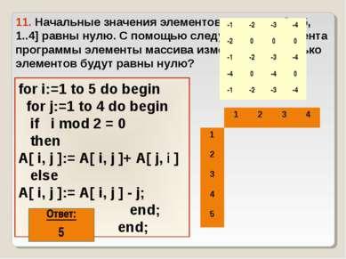 11. Начальные значения элементов массива A[1..5, 1..4] равны нулю. С помощью ...