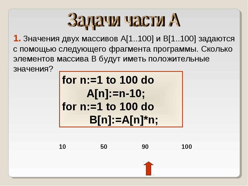 1. Значения двух массивов A[1..100] и B[1..100] задаются с помощью следующего...