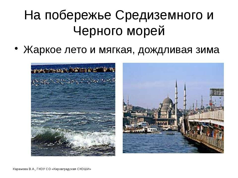 На побережье Средиземного и Черного морей Жаркое лето и мягкая, дождливая зим...