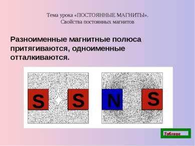 Тема урока «ПОСТОЯННЫЕ МАГНИТЫ». Свойства постоянных магнитов Разноименные ма...