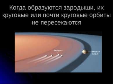 Когда образуются зародыши, их круговые или почти круговые орбиты не пересекаются