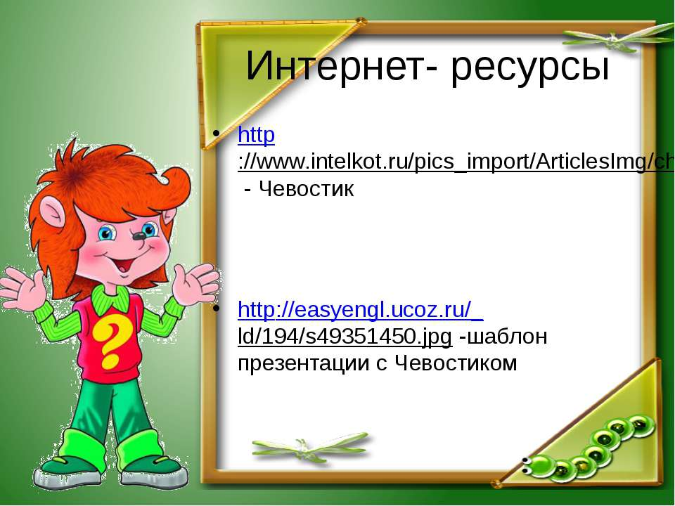 Интернет- ресурсы http://www.intelkot.ru/pics_import/ArticlesImg/chevostik.jp...