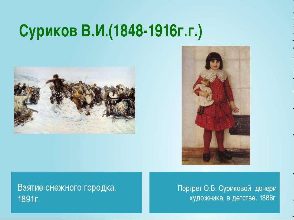 Суриков В.И.(1848-1916г.г.) Взятие снежного городка. 1891г. Портрет О.В. Сури...