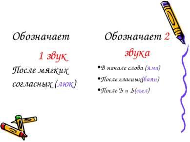 Обозначает 1 звук Обозначает 2 звука После мягких согласных (люк) В начале сл...