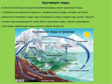 Круговорот воды. Особое значение для существования биосферы имеет круговорот ...