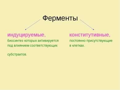 Ферменты индуцируемые, конститутивные, биосинтез которых активируется постоян...