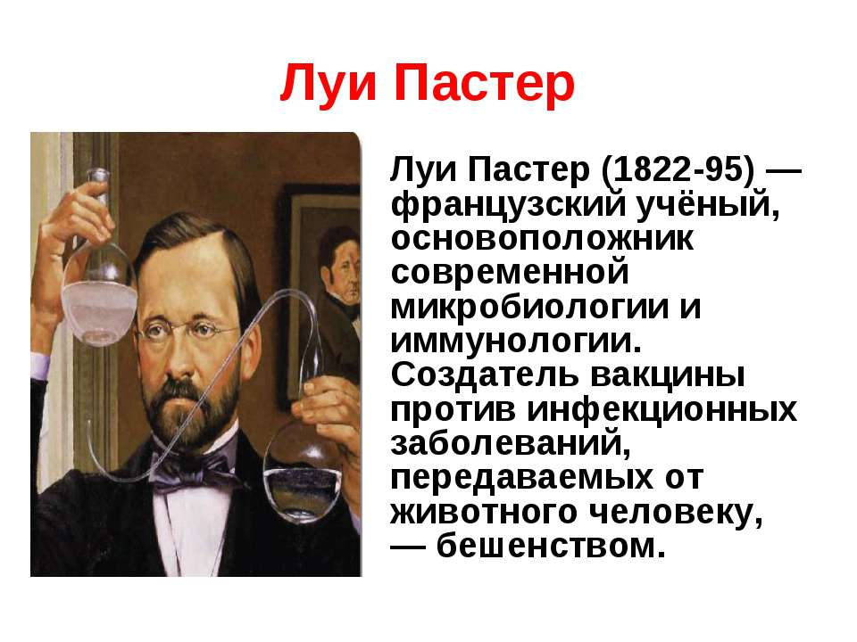 Луи Пастер Луи Пастер (1822-95) — французский учёный, основоположник современ...