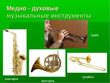 Медно - духовые музыкальные инструменты валторна тромбон труба саксофон