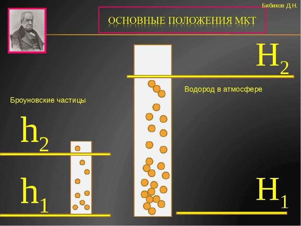 Бибиков Д.Н. h2 H2 H1 h1 Водород в атмосфере Броуновские частицы