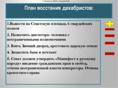 План восстания декабристов: 1.Вывести на Сенатскую площадь 6 гвардейских полк...