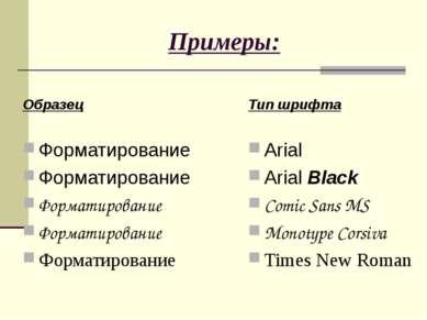Примеры: Образец Форматирование Форматирование Форматирование Форматирование ...