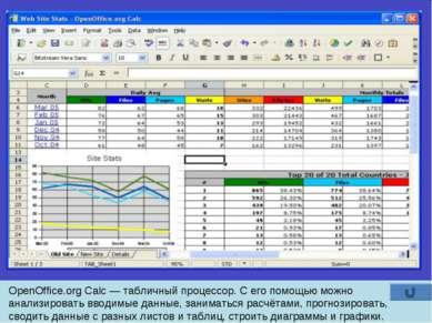 OpenOffice.org Calc — табличный процессор. С его помощью можно анализировать ...