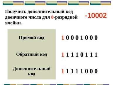 Все целые отрицательные числа в компьютере представляются дополнительным кодо...