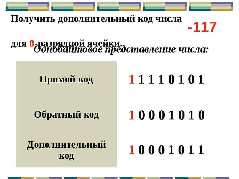 Получить дополнительный код числа для 16-разрядной ячейки. Двухбайтовое предс...