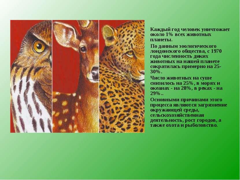 Каждый год человек уничтожает около 1% всех животных планеты. По данным зооло...