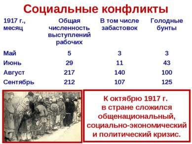 Социальные конфликты К октябрю 1917 г. в стране сложился общенациональный, со...