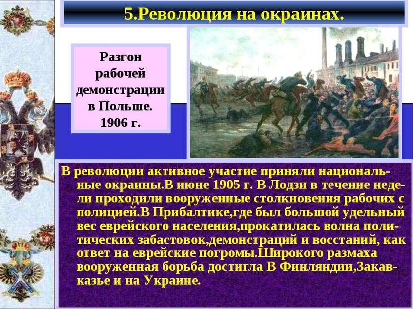 В революции активное участие приняли националь-ные окраины.В июне 1905 г. В Л...