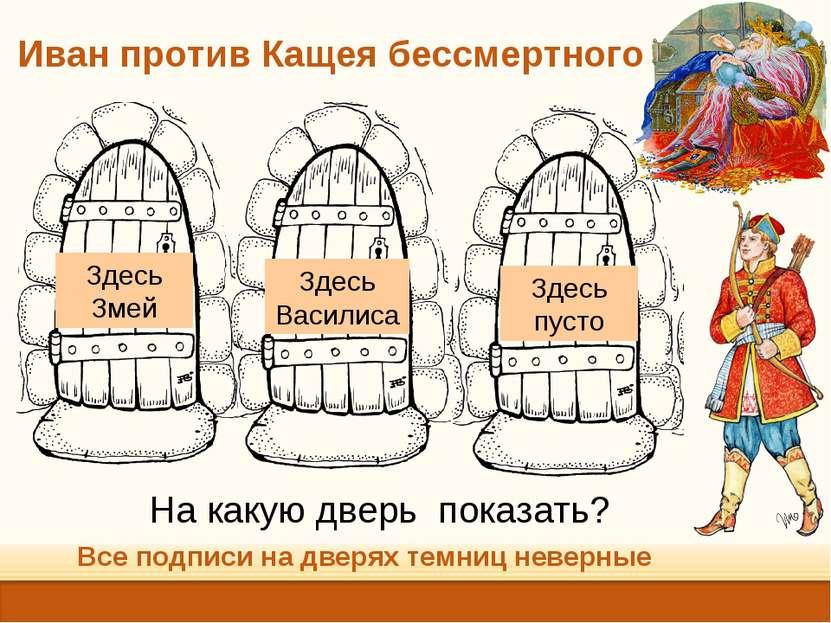 Иван против Кащея бессмертного Все подписи на дверях темниц неверные На какую...