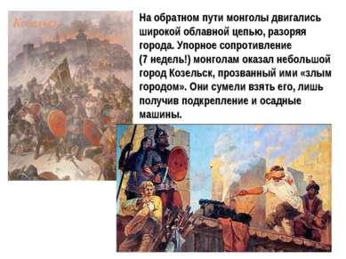 На обратном пути монголы двигались широкой облавной цепью, разоряя города. Уп...