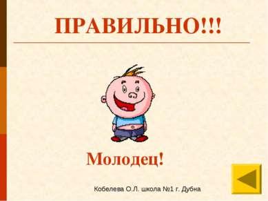 ПРАВИЛЬНО!!! Молодец! Кобелева О.Л. школа №1 г. Дубна