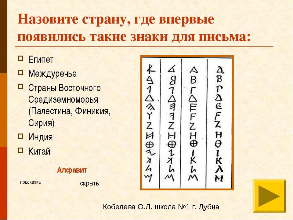 Назовите страну, где впервые появились такие знаки для письма: Египет Междуре...
