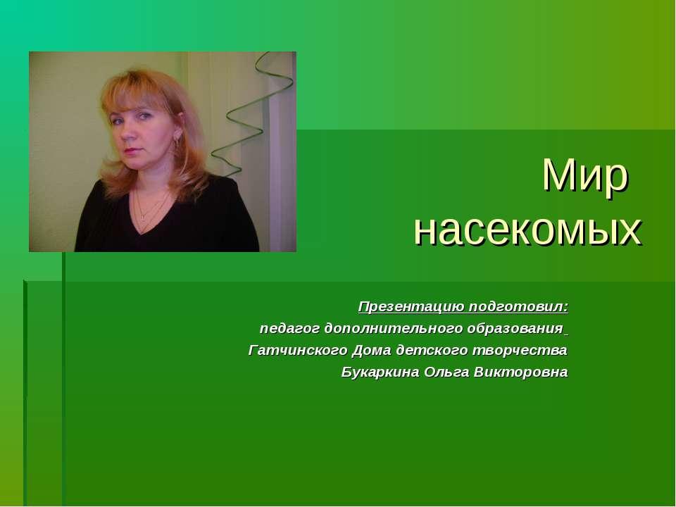 Мир насекомых Презентацию подготовил: педагог дополнительного образования Гат...
