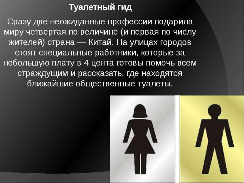 Туалетный гид Сразу две неожиданные профессии подарила миру четвертая по вели...