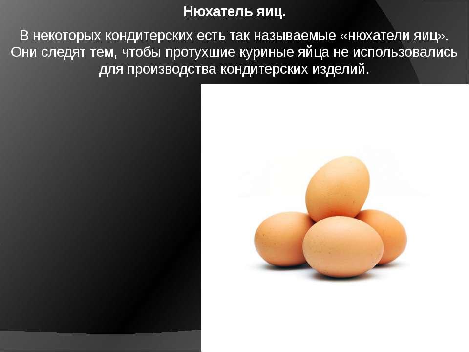 Нюхатель яиц. В некоторых кондитерских есть так называемые «нюхатели яиц». Он...
