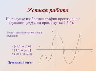 Устная работа На рисунке изображен график производной функции y=f(x) на проме...