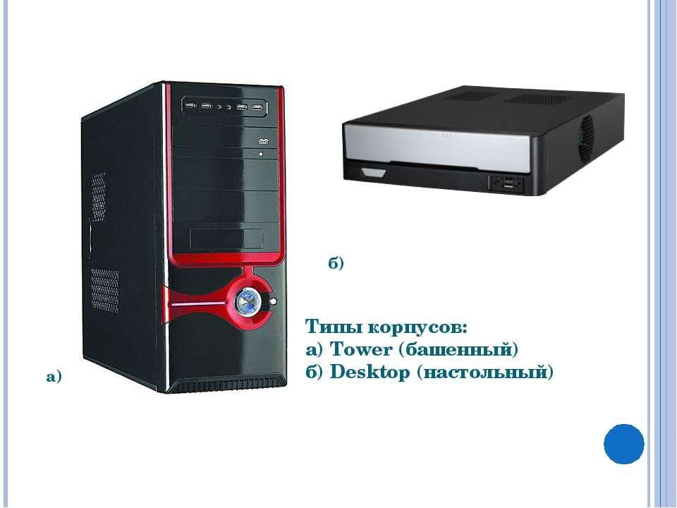 а) б) Типы корпусов: а) Tower (башенный) б) Desktop (настольный)