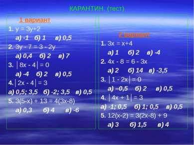 КАРАНТИН. (тест) 1 вариант 1. у = 3у+2 а) -1 б) 1 в) 0,5 2. 3у - 7 = 3 - 2у а...
