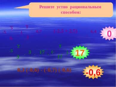Решите устно рациональным способом: 0,3 (-0,6) - (-0,7) (-0,6) 0 17 -0,6 1 3 ...