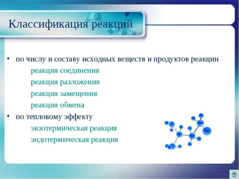 Классификация реакций по числу и составу исходных веществ и продуктов реакции...