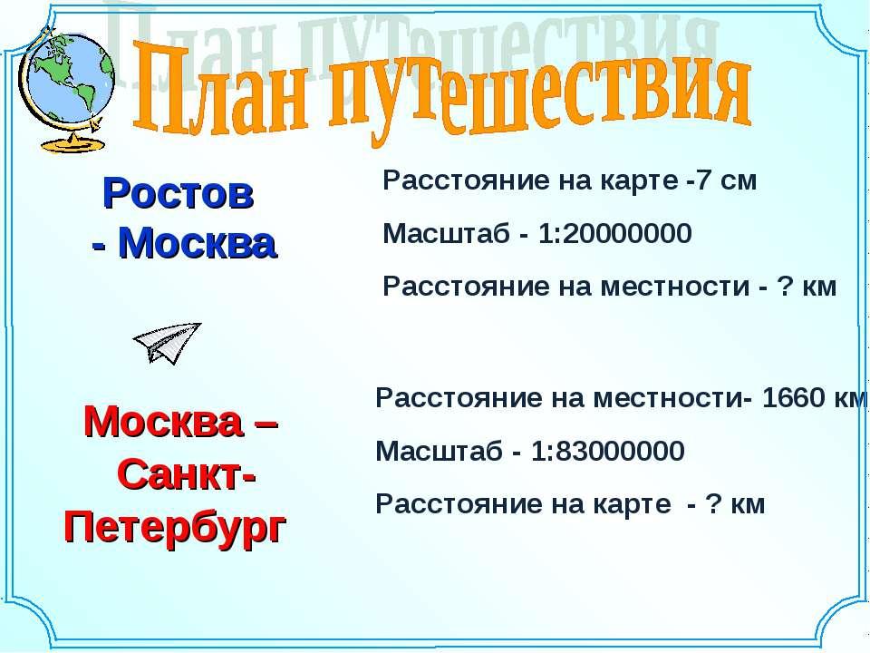 Ростов - Москва Расстояние на карте -7 см Масштаб - 1:20000000 Расстояние на ...
