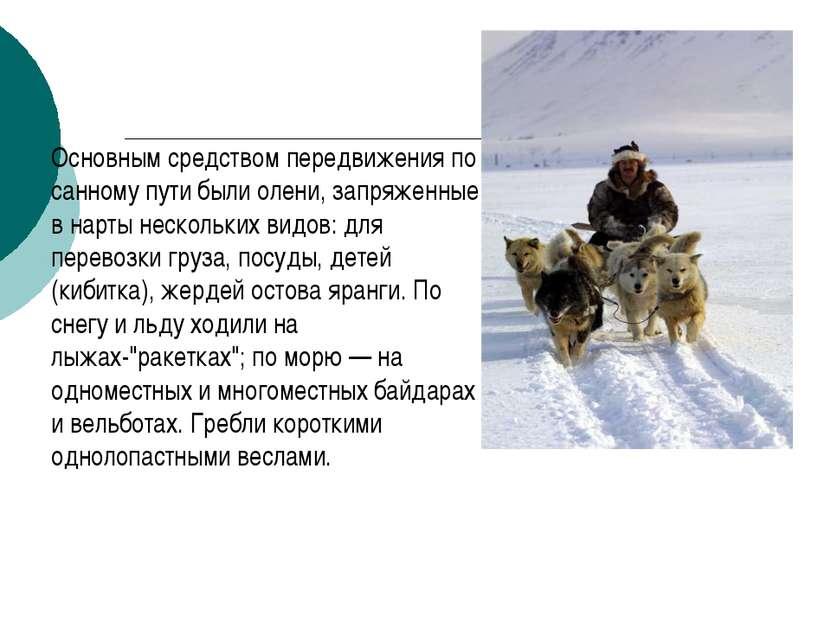 Основным средством передвижения по санному пути были олени, запряженные в нар...