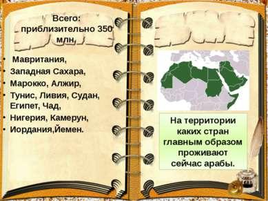 Всего: приблизительно 350 млн. Мавритания, Западная Сахара, Марокко, Алжир, Т...