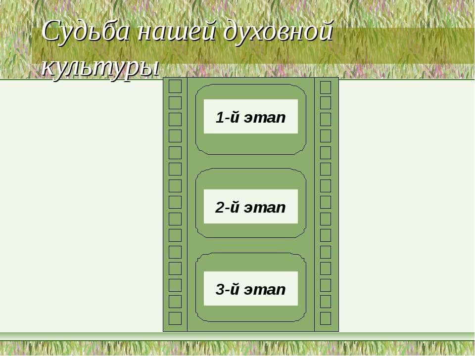 Судьба нашей духовной культуры 1-й этап 3-й этап 2-й этап