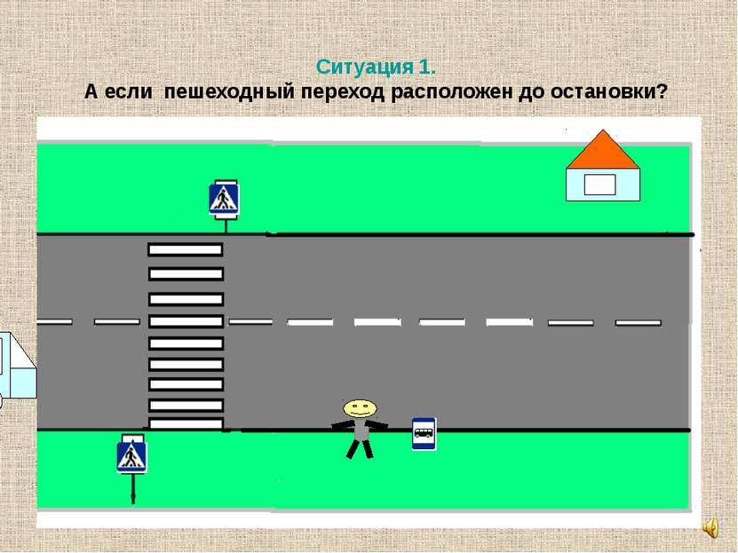 Ситуация 1. А если пешеходный переход расположен до остановки?