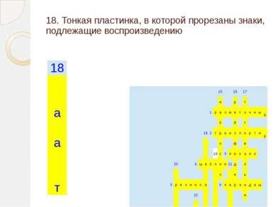 18. Тонкая пластинка, в которой прорезаны знаки, подлежащие воспроизведению 1...