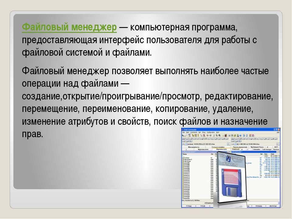 Файловый менеджер— компьютерная программа, предоставляющая интерфейс пользов...