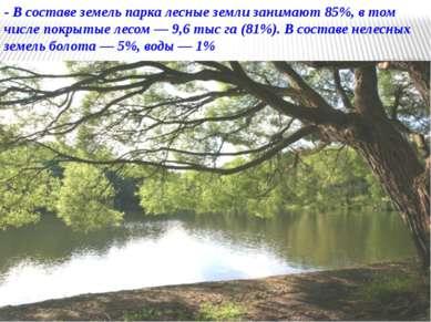 - В составе земель парка лесные земли занимают 85%, в том числе покрытые лесо...