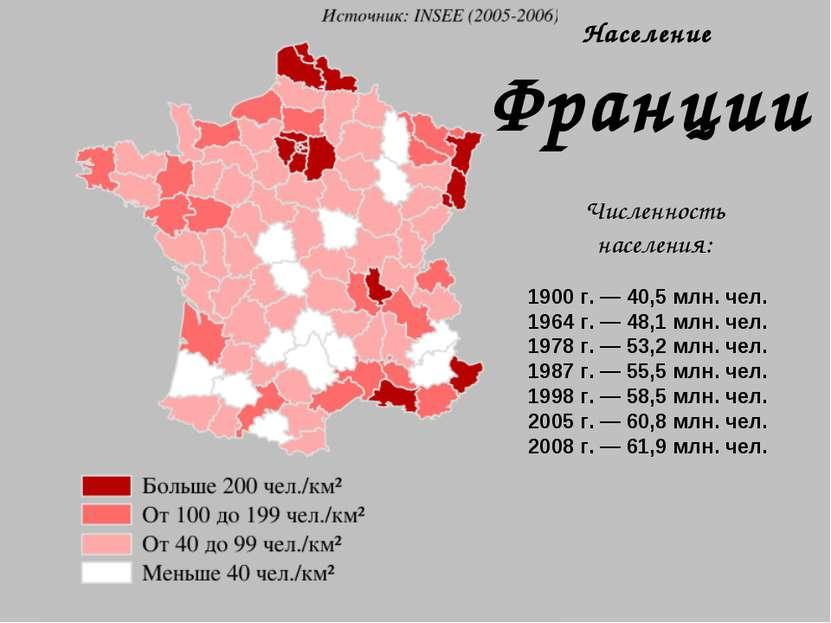 Население Франции Численность населения: 1900 г. — 40,5 млн. чел. 1964 г. — 4...