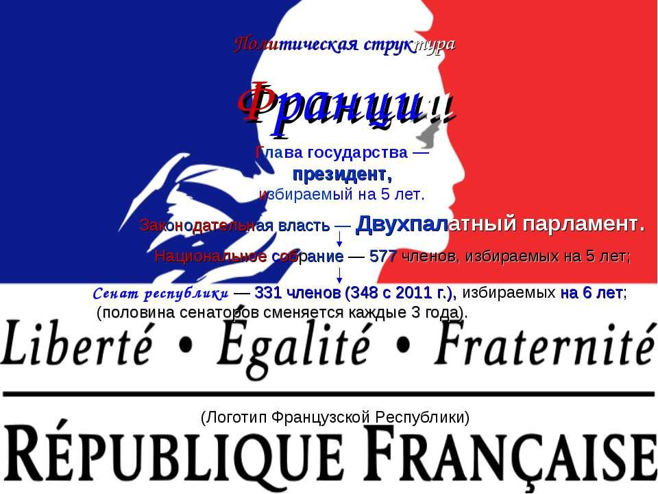 Политическая структура Франции (Логотип Французской Республики) Глава государ...