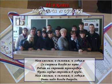 11-а класс МОУ СОШ г. СУРСКА Нам смелым, и сильным, и ловким Со спортом всегд...