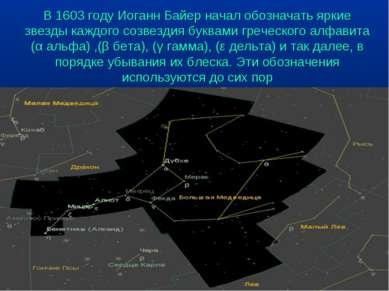 В 1603 году Иоганн Байер начал обозначать яркие звезды каждого созвездия букв...