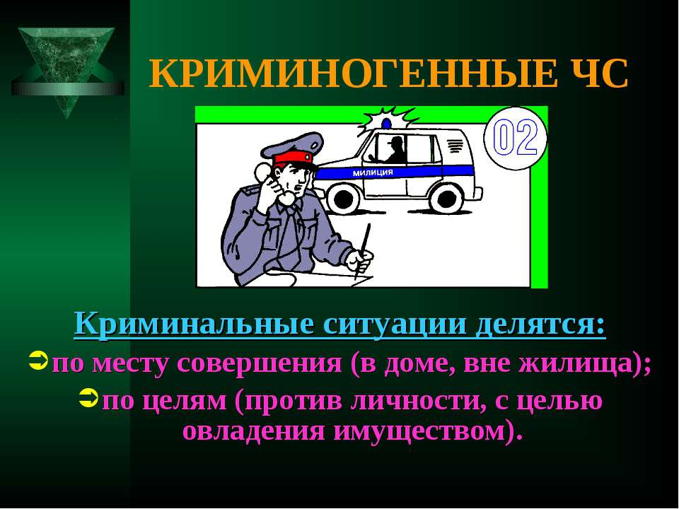 КРИМИНОГЕННЫЕ ЧС Криминальные ситуации делятся: по месту совершения (в доме, ...