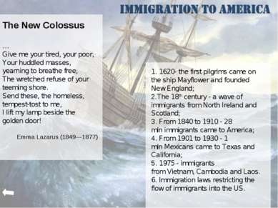 The New Colossus … Give me your tired, your poor, Your huddled masses, yearni...